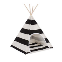 Wholesale White and black stripe Dog Bed Dog House Pet play House play teepee tent lovely warm dog play bed