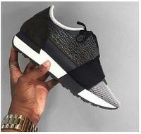 Precio de Designer brand name men shoes-2016 El más nuevo nombre del diseñador Marca Hombre Mujer Zapatos Zapatos Chaussure Moda Desnudo Negro Malla De Cuero Encaje hasta Trainer Zapatos Casual