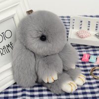 Wholesale 2016 New Rabbit Fur Rex Rabbit Pendant With Key Ring for Car Bags Handbags a charming gift for women and girls