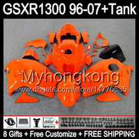 achat en gros de 98 gsxr carénage orange noir-8gift Pour SUZUKI Hayabusa GSXR1300 96 97 98 99 00 01 13MY105 brillant orange GSXR 1300 GSX-R1300 GSX R1300 02 03 04 05 06 07 TOP noir Carénage
