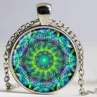animal keychains china - Key chain Mandala Art Picture Glass Cabochon pendant Keychains Sacred Geometry Yoga Om Fashion Jewelry New Key ring