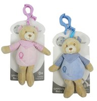 Wholesale UK Brand Snuggle Baby Nursery Time Lovely Cute Fashion Soft Polyester Bear Plush Rattles With Clamp Toy Washable Bear Boys and Girls
