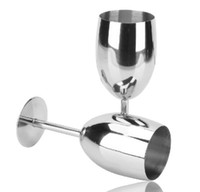 Wholesale 201 Stainless Steel Standing Cup ML Red Wine Juice Beer Advanced Metal Glass Goblet Anti broken Bar Party Fashion Drinking Ware
