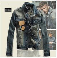 Wholesale European style men retro do the old slim Distress denim coat jacket men Individuality casual denim coat jacket