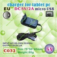 Wholesale C032 micro USB V A EU power plug Europe Standard Charger or power adaptor for tablet pc onda cube vido ampe ainol