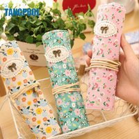 Wholesale Floral Canvas Roll Pencil Case Travel Drawing Coloring Pencil Roll Organizer For Pens School Office Stationery