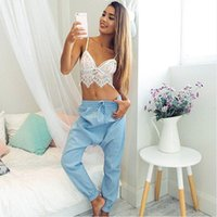 Hot 2016 Mulheres Verão Senhoras Sexy Lace Crochet Bralet Bustier Crop Top Camisole Strappy Bra Bikini Bralette Halter Tank Tops