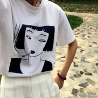 avatar sleeves - Korea ulzzang Harajuku vintage summer girl avatar letters printed round neck short sleeve T shirt women clothing Tops Tee