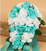 Wholesale Wedding Flowers Ivory Rose Crystal Bouquet Bride Bridesmaid Flower Girl Wand Wedding Bouquet Wedding Decorations Bridesmaids Bouquets