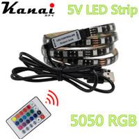achat en gros de alimentation tv gros-Wholesale-USB Alimentation LED 5050 100/200 / 500cm imperméable à l'eau rgb flexibles bande DC 5V TV d'arrière-plan d'éclairage DIY lampe décorative