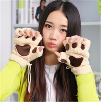 Wholesale Hottest Woman Winter Fluffy Bear Cat Plush Paw Claw Glove Novelty soft toweling lady s half covered gloves Christmas gift Fingerless Gloves
