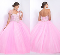 balls wonderful - Pink Quinceanera Dress Ball Gown Dresses Crystals With Jacket Elegant Simple Design Wonderful Appliques Beading Shiny Bling Prom Party Wear