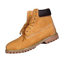 authentic kicks - Authentic Leather Mens Martin Boots Plain Yellow Waterproof Ankle Shoes Rubber sewing Kick Non Rotting Shoes for Men