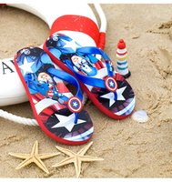 america slippers - Boys The Avengers of Ultron Flip Flop Cartoon Kids Shoes children s slippers super heroes Captain America cartoon shoes sandal