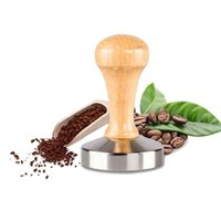 beans espresso - 58mm Stainless Steel Aluminum Casting Espresso Coffee Tamper Flat Base Wood Handle Coffee Bean Pressure Powder Hammer Tool ZA2380