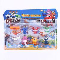 Wholesale 2017 set Super Wings Mini Airplane PVC Robot Toys Action Figures Super Wing Deformation Jet Animation Kids Best Gi