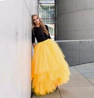 al por mayor tutús amarilla para las mujeres-Amarillo Maxi Adulto Falda Larga Tutu Tulle Tiered Capas Bust Faldas para Mujeres Elegante Long Party Homecoming Vestidos