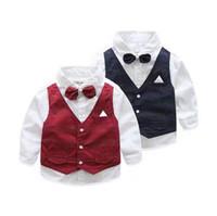 Nouvelle Arrivée Enfants Porter Collier Stand One-Piece Shirt Wirh Bowtie Vest Dernier Design Garçons Mode Top Marine Rouge Q0735