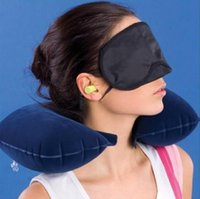 Wholesale factory price Inflatable Pillow U shaped with Goggles Earplug in Car Accessories for Outdoor Sports