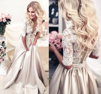 Wholesale 2017 New Arrival A Line Champagne Wedding Dresses Sheer Neck Half Sleeves Appliques Lace Satin Long Wedding Gowns See Through Bridal Dress