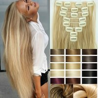 Wholesale Hairpiece inch Clips in Hair Extensions set Cheap Synthetic False Hair Extensions Heat Resistant Straight Hair piece
