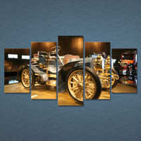 Oil Painting automobile painting - 5 Set Framed HD Printed Vintage Car Automobile Picture Painting Picutre Print Wall Art Living Room Decor Poster Canvas Paint
