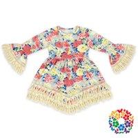 baby bottle princess - Hot Babys Print Lace Tassel Dress BOHO Style Kids Elegant Length Beach Dress Casual Flare Sleeve Sweet Baby Princess Dress