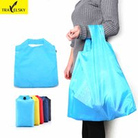 Wholesale Portable folding shopping bag Large nylon bags Thick bag Foldable Waterproof ripstop Set
