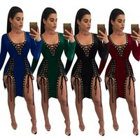 Night Out & Club Bodycon Dresses Spring new bodycon dresses for womens fashion dresses casual bandage hollowed-out deep-V sexy dress for party street