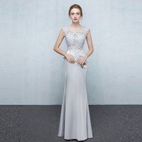 Wholesale 2017 High Quality Grey Sheath Evening Dresses Sleeveless Floor Length Appliques Beading Red Carpet Gown Long Prom Dress
