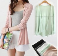 Wholesale Summer clothing knit cardigan sweater female shawl long sleeved jacket thin air conditioned shirt womens thin knit cardigan