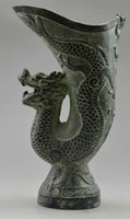 Wholesale Asia Collectible Decorated Old Handwork Bronze Carved Dragon Vase