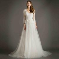 Wholesale Elegant A Line Long Sleeve Wedding Dresses V Neck Applique Tulle Bridal Gown Vestido De Noiva Backless Wedding Gown
