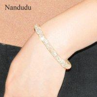 achat en gros de cristaux pointes bracelet-Nandudu Bracelets Plaqué Or Bracelet Femme En Cristal Nouvelle Mode pulseras B35 B257 Bracelet Bracelet En Gros
