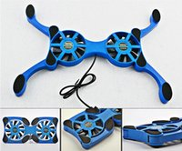 Wholesale New Foldbale USB Double Fans Cooling Fan Mini Octopus c Cooling Pad Quiet Stand For to inch Notebook Laptop PC