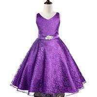 Wholesale Diamond belt Princess evening dress Fall girl lace dresses Fashion V neck Children Girl Party Dresses Colors C0182