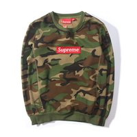 supreme clothing - Embroidered Supreme Camouflage Trainning Sweatshirt Pullover Streetwear Thermal Fleece Skateboards Sportwear Fashion Long Sleeve Clothing