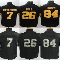 Wholesale Men s Stitched Limited Football Ben Roethlisberger Le Veon Bell Antonio Brown Color rush and Anthracite Limited jerseys