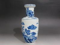 antique landscape painting - Chinese Blue and white porcelain Vase Painted landscape bamboo boat Kangxi mark