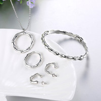 Wholesale Fashion K Gold Bamboo Ring Two Three Four Piece Set Necklace Bracelet Ring Earring Set Rose Gold White Gold Jewelry