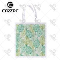achat en gros de motifs de tissus sur mesure-En gros - Feuille verte Art Allover répéter Impression motif Custom individuel en polyester léger Sac réutilisable sac cadeau