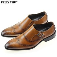 Wholesale FELIX CHU Luxury Mens Business Suit Brogue Brown Genuine Leather Dress Formal Shoes Male Tan Oxford Office In Flats