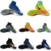 Wholesale 2017 New men Football shoes CR7 Mercurial x EA Sports Superfly V FG Mens Soccer Cleats Superflys Cristiano Ronaldo outdoor Soccer Shoes