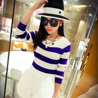 Wholesale In the spring of Korean New Women s sweater stripes shirt