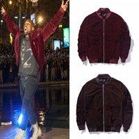 Wholesale Newest Kanye West Designer MA1 Velvet Quilted Fall Bomber Jacket Rockstar Vantage Style Pleated Sleeve Pilot Jacket Coat