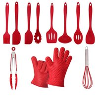 bbq utensils tool set - Silicone Kitchen Cooking Utensils Set Pieces Heat Resistant Kitchen Tools BBQ Gloves Scraper Spoon Food Tongs Pasta Fork Slotted