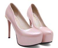 2017 Adorable perle rose plate-forme orteil talons hauts pompes femmes chaussures de mariage taille 34 à 39