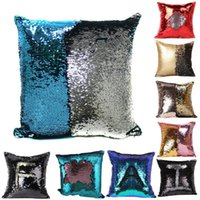 Wholesale 40 CM Mermaid Sequin Glitter Sequins Magic Throw Pillow Cases Cover Mermaid Changing Scale Hugging Cushion Decorative Pillow Case Cover