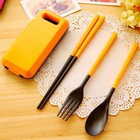 Wholesale Portable Tableware Sets Folding Spoon Fork Chopsticks Outdoor Travel Lunch Box Tableware Orange Green Blue Rosy Color Set A264