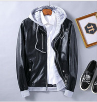 argyle pieces - Unique Men s Fake Two Pieces pockets design Pu Leather Motorcycle Rider Bomber Hoodie Jacket